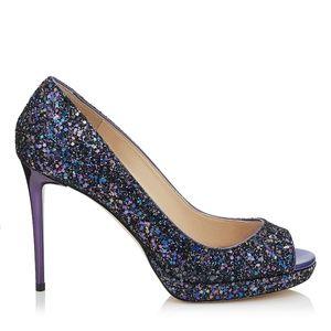 NIB Jimmy Choo Purple Glitter Luna 100 Pumps